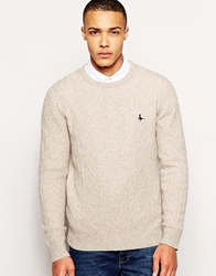 Jack Wills Marlow Jumper With Cable Knit Stonemarl