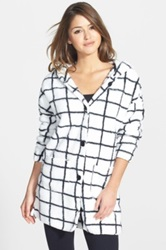 Pj Salvage Windowpane Print Plush Hooded Cardigan White