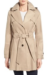 Women's Via Spiga 'Scarpa' Hooded Single Breasted Trench Coat Sand