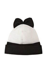 Federica Moretti Wool Beanie Hat With Bow