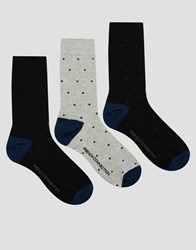 French Connection 3 Pack Socks In Spot Print Black
