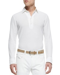 Loro Piana Huck Lace Long Sleeve Polo White