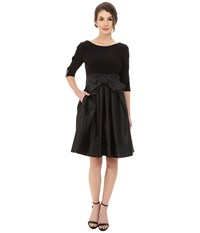 Adrianna Papell Taffeta Twofer Fit And Flare Black Women's Dress