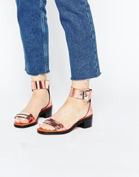 Whistles Rose Gold Leather Mid Heel Sandals Rosegold