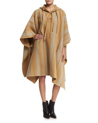 3.1 Phillip Lim Striped Poncho With Leather Ties