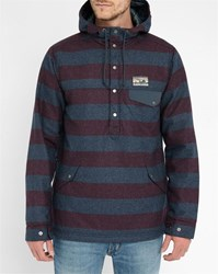 Patagonia Burgundy And Grey Striped Pr Wool Blend Hooded Sweater
