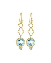 Jude Frances 18K Topaz Double Drop Earring Charms Green