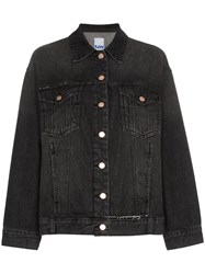 Sjyp Oversized Distressed Denim Jacket Black