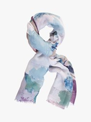 Chesca Voile Abstract Print Scarf Blue