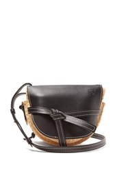 Loewe Gate Small Leather And Raffia Cross Body Bag Black Multi