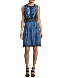 Elie Tahari Audriana Sleeveless Lace Trim Printed Dress Dark Blue