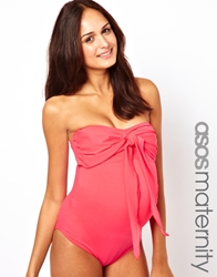Asos Maternity Exclusive Swimsuit With Bow Nectarine