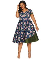 Unique Vintage Plus Size 1950S Style Slauson Swing Dress Navy Pink Floral Purple