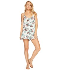 Roxy Fantastic Isle Romper Marshmallow Cariban Flowers Women's Jumpsuit And Rompers One Piece Blue