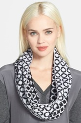 Phase 3 Retro Check Intarsia Infinity Scarf Black