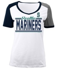 5Th And Ocean Women's Seattle Mariners Cb Sleeve T Shirt White Gray Navy