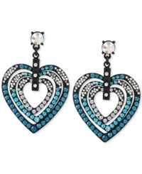 Betsey Johnson Black Tone Blue Crystal Heart Drop Earrings
