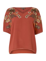 Biba Embroidered And Beaded V Neck Blouse Tobacco