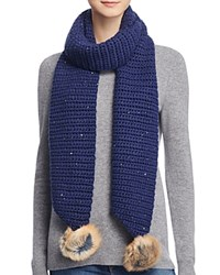 Ugg Scarf With Pom Poms 100 Bloomingdale's Exclusive Navy