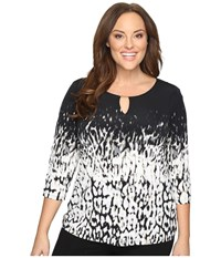 Calvin Klein Plus Size 3 4 Sleeve Print Top Black Light Grey Women's Long Sleeve Pullover Multi