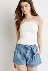 Forever 21 Denim Paper Bag Shorts Light Denim