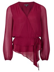 Adrianna Papell Chiffon Wrap Blouse Red