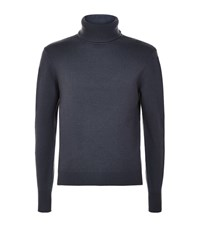 Hardy Amies Wool Cashmere Roll Neck Sweater Male Blue