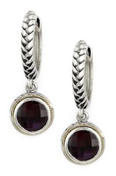 Effy 18K Yellow Gold And Sterling Silver Garnet Braided Drop Earrings Red