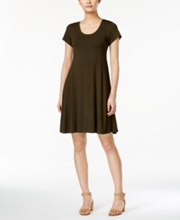 Style And Co Petite Short Sleeve A Line Dress Only At Macy's Evening Olive