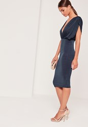 Missguided Plunge Wide Sleeve Midi Dress Navy Blue