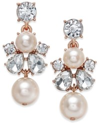 Charter Club Rose Gold Tone Crystal And Imitation Pearl Drop Earrings Only At Macy's
