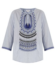 Velvet By Graham And Spencer Mallory Embroidered Striped Cotton Top Blue Multi