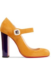 Christian Louboutin Bibaba Suede Mary Jane Pumps Saffron