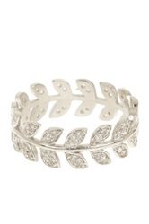Adam Marc Sterling Silver Cz Leaf Ring