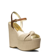 Michael Kors Benji Natural Straw Wedge Platform Sandal