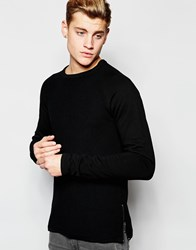 Solid Knitted Jumper With Sweat Sleeves Black