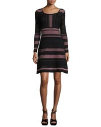 M Missoni Long Sleeve Striped Rib Stitched Mesh Knit Dress Petal