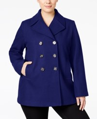 Kenneth Cole Plus Size Double Breasted Peacoat Only At Macy's Navy