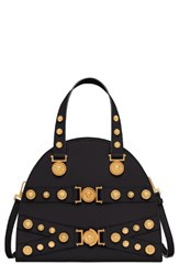 Versace Tribute Studded Leather Satchel Black Nero
