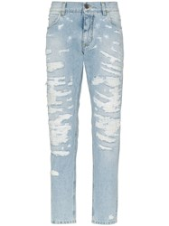 Dolce And Gabbana Ripped Slim Fit Jeans Blue