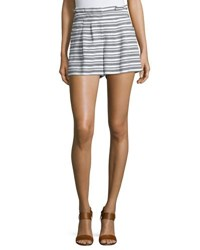 Veronica Beard Wynwood Striped High Waist Shorts Black White