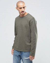 Weekday Simon Raw Edge Sweatshirt Fleece 19 127 Green