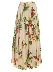 Isolda Tropical Floral Print Linen Maxi Skirt