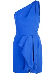 Halston Heritage Asymmetric Mini Dress Blue