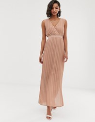 Y.A.S Pleated Wrap Maxi Dress Brown