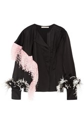 Christopher Kane Feather Trimmed Crepe De Chine Blouse Black