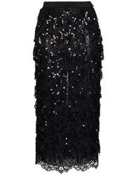 Alessandra Rich Sequin Embellished Lace Panel Silk Skirt Black
