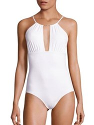 Melissa Odabash Shirred Keyhole Front Swimsuit White