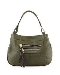 Sandy Leather Hobo Bag Forest Green Oryany