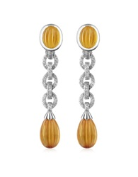 Roma Imperiale Carved Gemstone 18K Gold And Diamond Drop Earrings Citrine